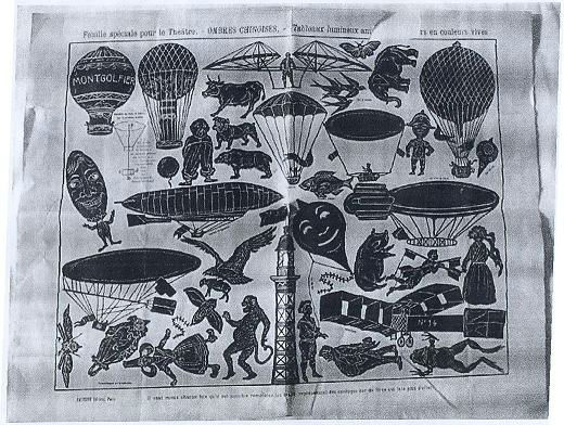 l`aviation ombres chinoises silhouettes avions ballons