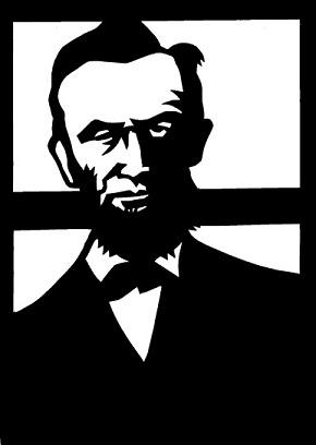 Abraham Lincoln visage en théâtre d`ombres ombres chinoises silhouettes marionnettes