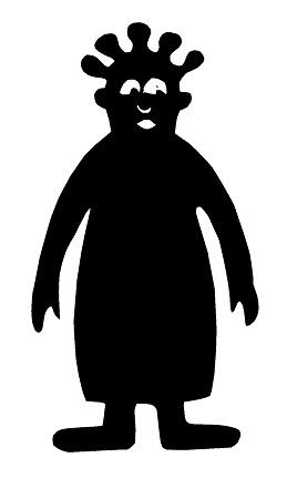 femme africaine en théâtre d`ombres ombres chinoises silhouettes marionnettes
