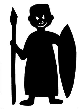 homme africain en théâtre d`ombres ombres chinoises silhouettes marionnettes