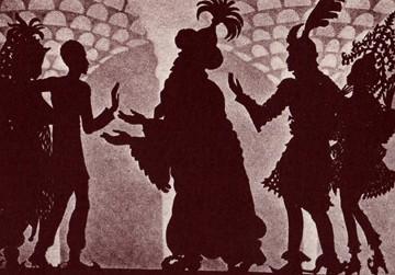 princes rois princesses en théâtre d`ombres ombres turques silhouettes marionnettes