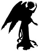 ange en théâtre d`ombres ombre chinoise marionnette silhouette