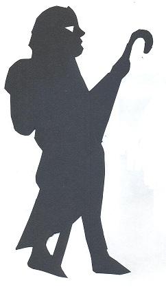 homme en théâtre d`ombres ombres chinoises apotre bible marionnettes silhouettes