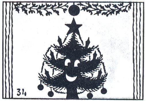 arbre de noël en théâtre d`ombres chinoises silhouettes marionnettes saynète