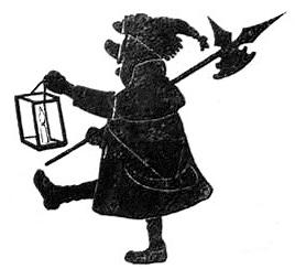 homme hallebardier en théâtre d`ombres silhouettes ombres chinoises marionnettes