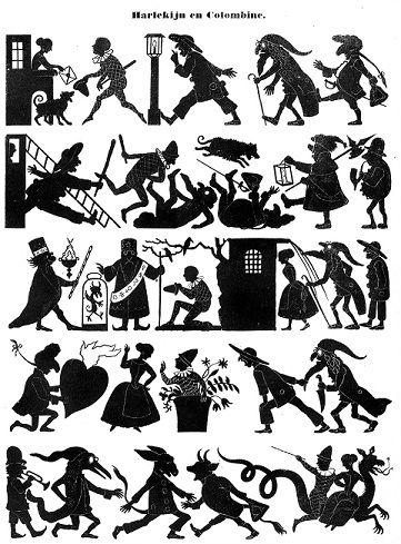 arlequin planche d`ombres en théâtre d`ombres silhouettes ombres chinoises marionnettes