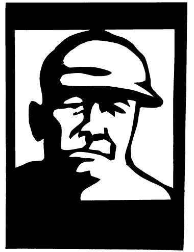 Babe Ruth visage personnage homme théâtre d`ombres ombres chinoises marionnettes silhouettes