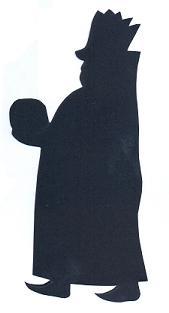 Balthazar debout roi mage bible nativité en théâtre d`ombres ombres chinoises silhouettes marionnettes
