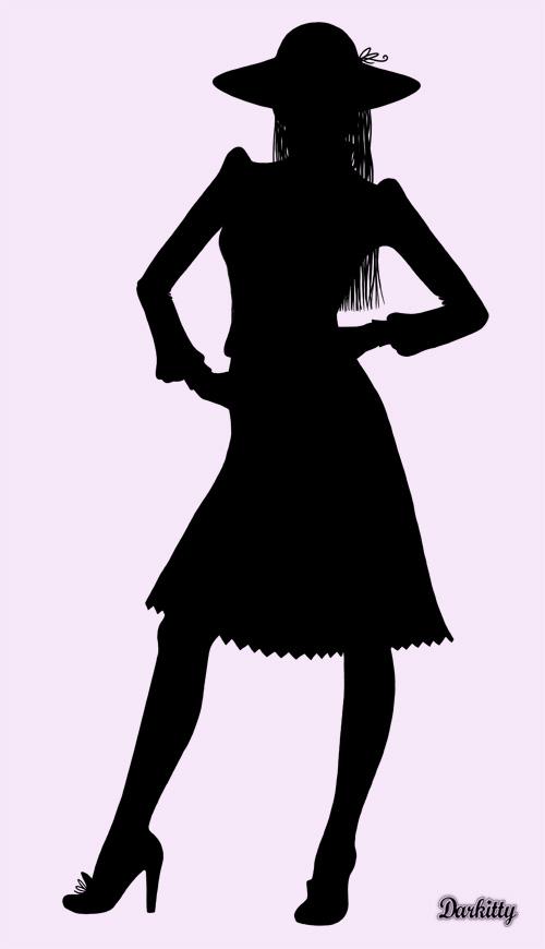 femme en theâtre d`ombres chinoises silhouettes