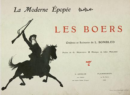 Les Boers, Louis Bombled, G. Montoya, Jules Mulder, pièce d`ombres chinoises, theatre d`ombres, silhouettes, marionnettes