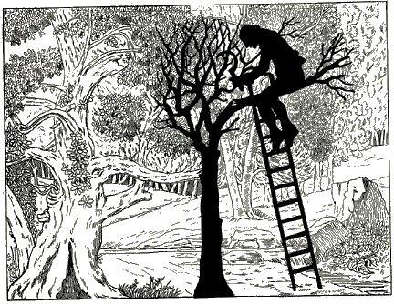 forêt, bcheron, la branche cassée, Paul Eudel, ombres chinoises, pièce, théâtre d`ombres, saynète, silhouettes, marionnettes