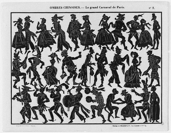 Carnaval de Paris planche d`ombres théâtre d`ombres ombres chinoises silhouettes marionnettes