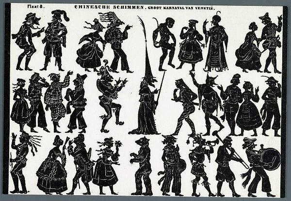 Carnaval de Venise planche d`ombres théâtre d`ombres ombres chinoises silhouettes marionnettes