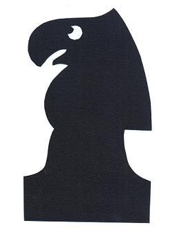 cavalier noir échecs en théâtre d`ombres ombres chinoises silhouettes marionnettes