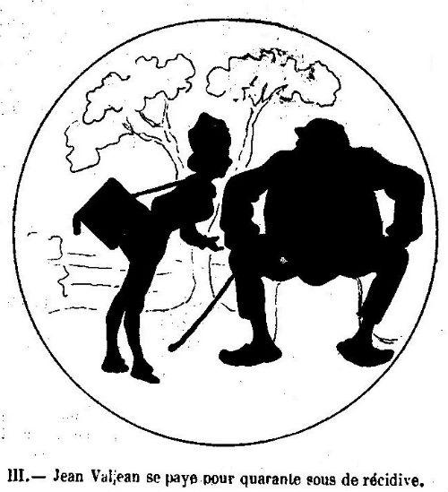 Les misérables en théâtre d`ombres ombres turques silhouettes marionnettes