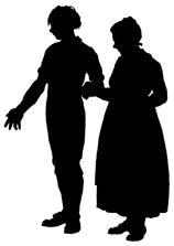 couple en théâtre d`ombres chinoises silhouettes marionnette