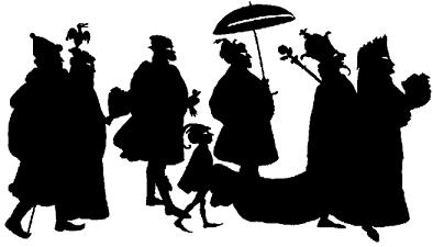 suite de personnages dagobert en theatre d`ombres chinoises silhouettes marionnettes