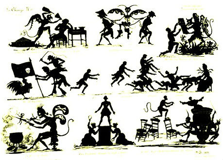 planche d`ombres chinoises theatre d`ombres silhouettes marionnettes