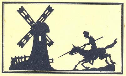 Don Quichotte en théâtre d`ombres chinoises silhouettes marionnettes
