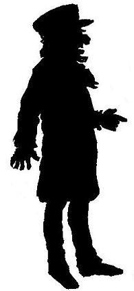 homme casquette en theatre d`ombres ombres chinoises marionnettes silhouettes
