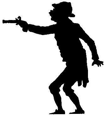 homme tireur pistolet en theatre d`ombres ombres chinoises marionnettes silhouettes