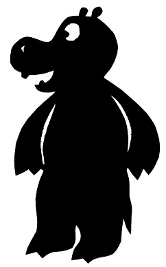 hippopotame animal en théâtre d`ombres ombres chinoises marionnette silhouette