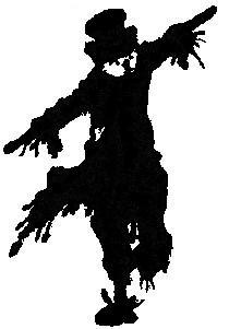 épouvantail en theatre d`ombres ombres chinoises silhouettes marionnettes