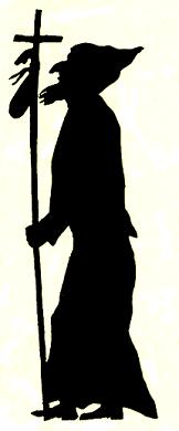 homme pélerin en theatre d`ombres ombres chinoises silhouettes marionnettes