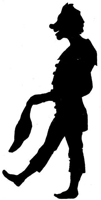 clown en théâtre d`ombres ombres chinoises silhouettes marionnettes