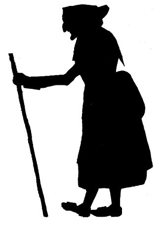 vieille femme en théâtre d`ombres ombres chinoises silhouettes marionnettes