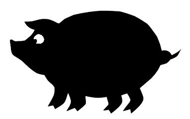 cochon ferme animal en ombres chinoises théâtre d`ombres silhouettes marionnette