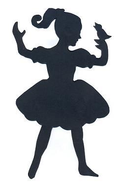fillette en théâtre d`ombres ombres chinoises marionnettes, silhouettes