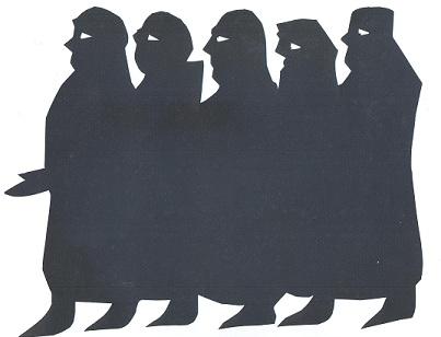 hommes en théâtre d`ombres ombres chinoises marionnettes silhouettes