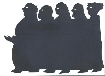 foule décor en ombres chinoises théâtre d`ombres marionnettes silhouettes