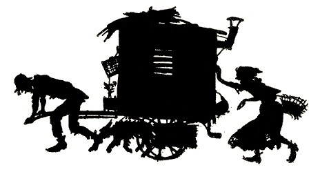 gens du voyage, roulotte, ombres chinoises, theatre d`ombres silhouettes, marionnettes, louis morin
