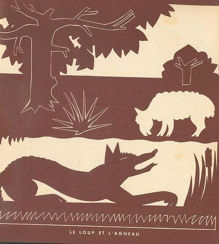 le loup et l`agneau silhouettes ombres chinoises theatre d`ombres