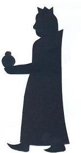 Gaspard debout roi mage bible nativité en théâtre d`ombres ombres chinoises silhouettes marionnettes