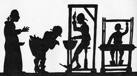 Les habits neufs de l`empereur conte en théâtre d`ombres ombres chinoises silhouettes marionnettes