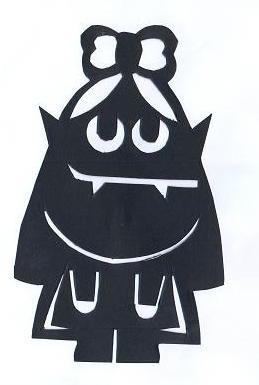 vampirette halloween en théâtre d`ombres ombres chinoises silhouettes marionnettes