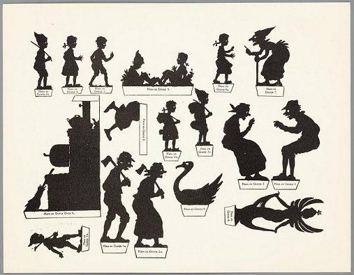Hansel et Gretel conte planche d`ombres théâtre d`ombres ombres chinoises silhouettes marionnettes