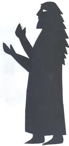 homme en théâtre d`ombres ombres chinoises apotre bible marionnettes silhouettes jésus