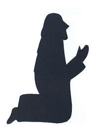 Joseph à genoux bible nativité en théâtre d`ombres ombres chinoises silhouettes marionnettes