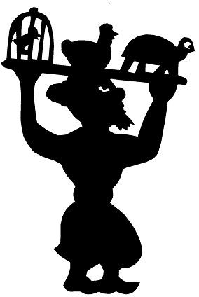 porteur karagoz en ombres chinoises théâtre d`ombres silhouettes marionnette