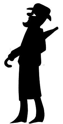 karagoz homme européen en ombres chinoises théâtre d`ombres silhouettes marionnette