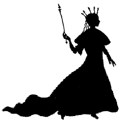 dame, reine en ombres chinoises, silhouettes, théâtre d`ombres, marionnettes, Rackham