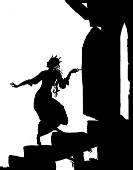 princesse montant à la tour, silhouette, ombre chinoise, théâtre d`ombres, silhouette, marionnette, free