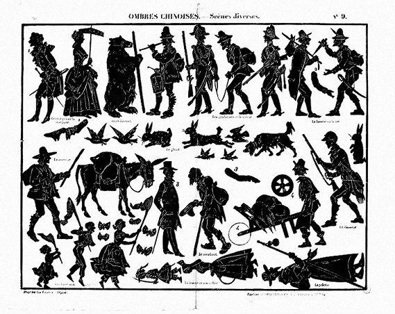 planche d`ombres chinoises personnages en théâtre d`ombres ombres chinoises marionnettes silhouettes
