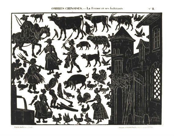 La ferme et ses habitants Séraphin planche d`ombres théâtre d`ombres ombres chinoises silhouettes marionnettes