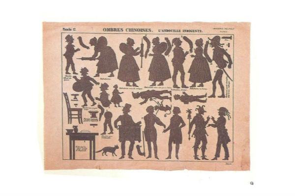 L`andouille indigeste planche d`ombres en théâtre d`ombres ombres chinoises marionnettes silhouettes