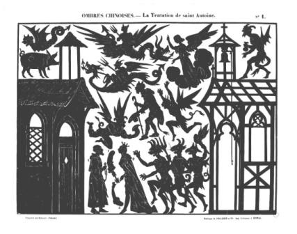 La tentation de Saint Antoine Séraphin planche d`ombres théâtre d`ombres ombres chinoises silhouettes marionnettes